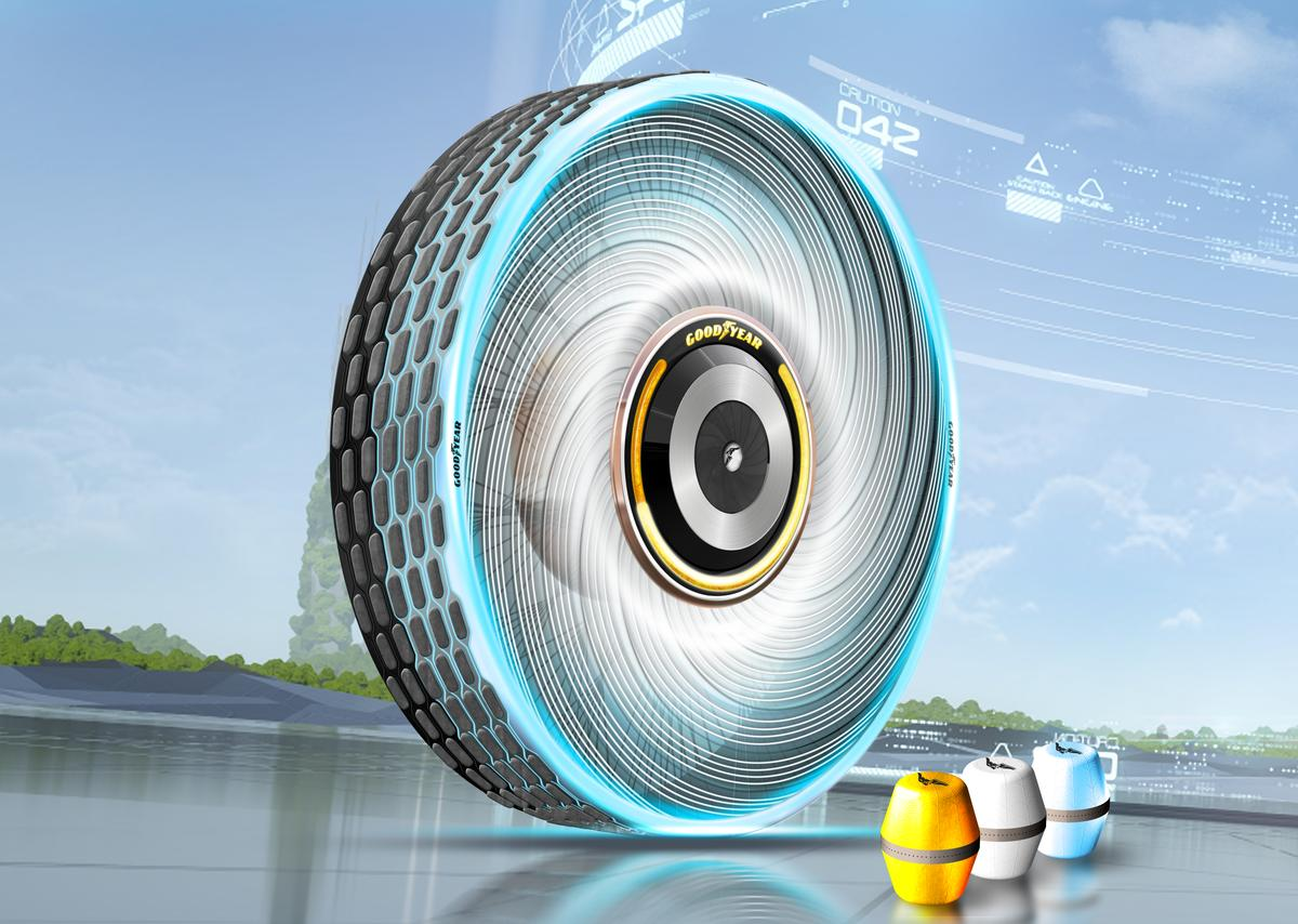 Goodyear's latest concept tire allows you to pop a cartridge of new tread compound into the center of the hub, where it extrudes out at the wheel surface