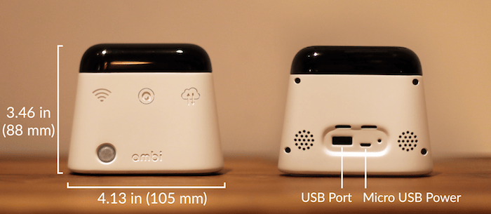 The desktop device measures 4.10 x 2.05 x 3.46 in (105 x 52 x 88 mm)