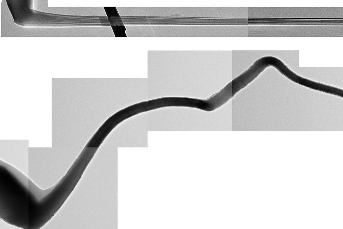 Formerly unobserved increase in length and twist of the anode in a nanobattery (Image: DOE Center for Integrated Nanotechnologies)