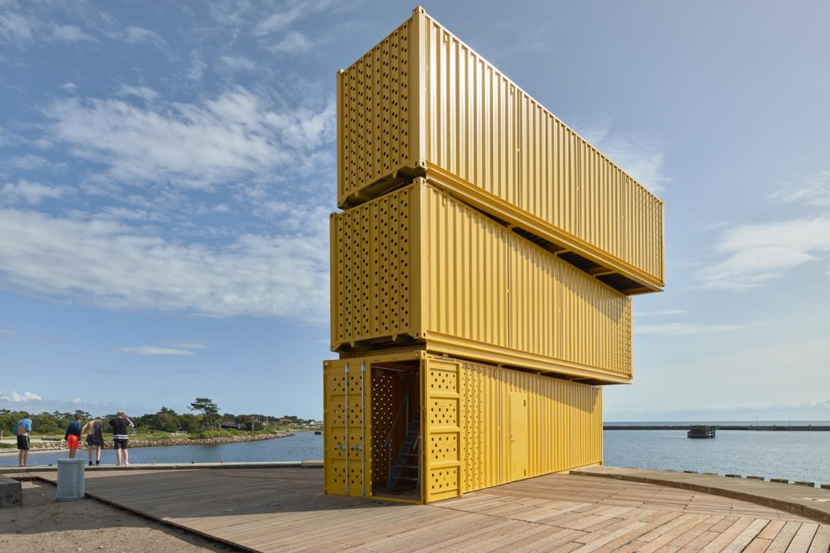 The Water Sports Center Halsskov's diving tower is made from three stacked shipping containers