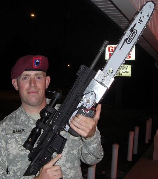 The AR-15 with chainsaw bayonet