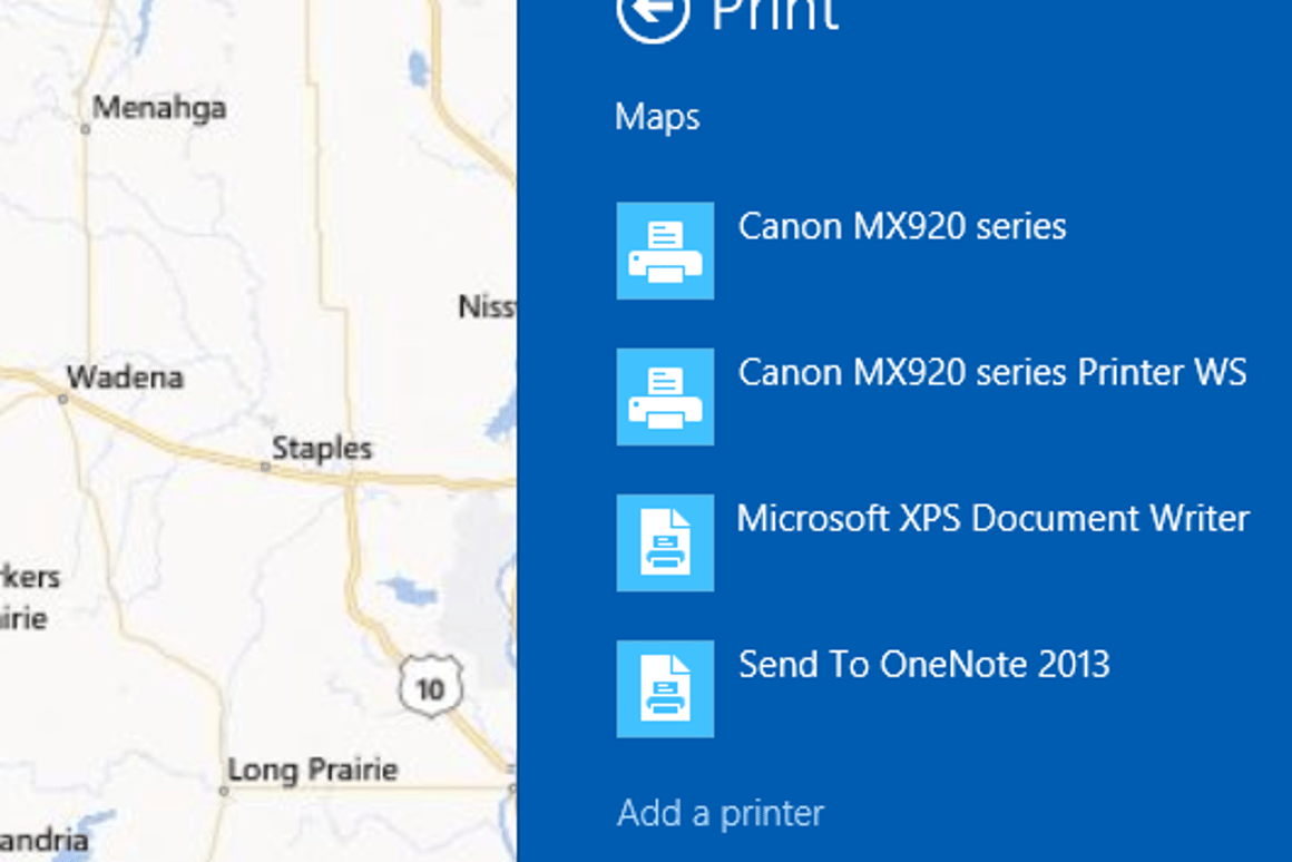 How to print from Modern apps in Windows 8 1