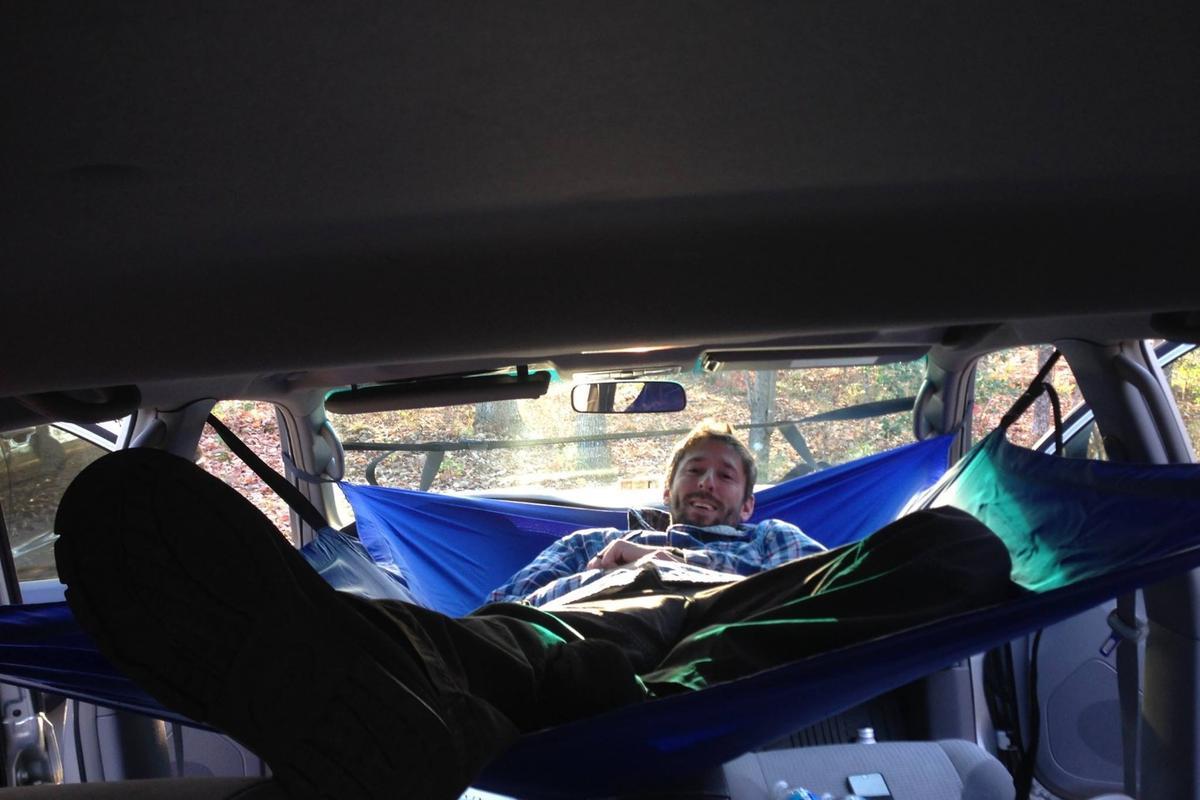 Kicking back in the Car Hammock