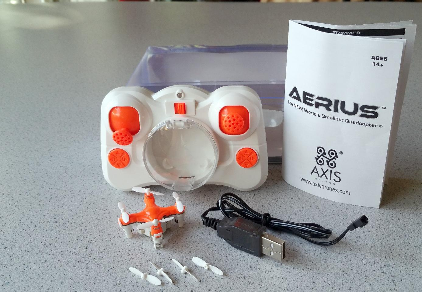 The Axis Drones Aerius quadcopter comes with a transmitter (with batteries), a USB cable, extra set of rotor blades, and instructions