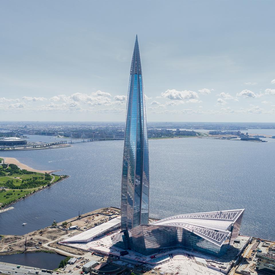 The Lakhta Center takes the form of a spire with five wings that twist as the building rises