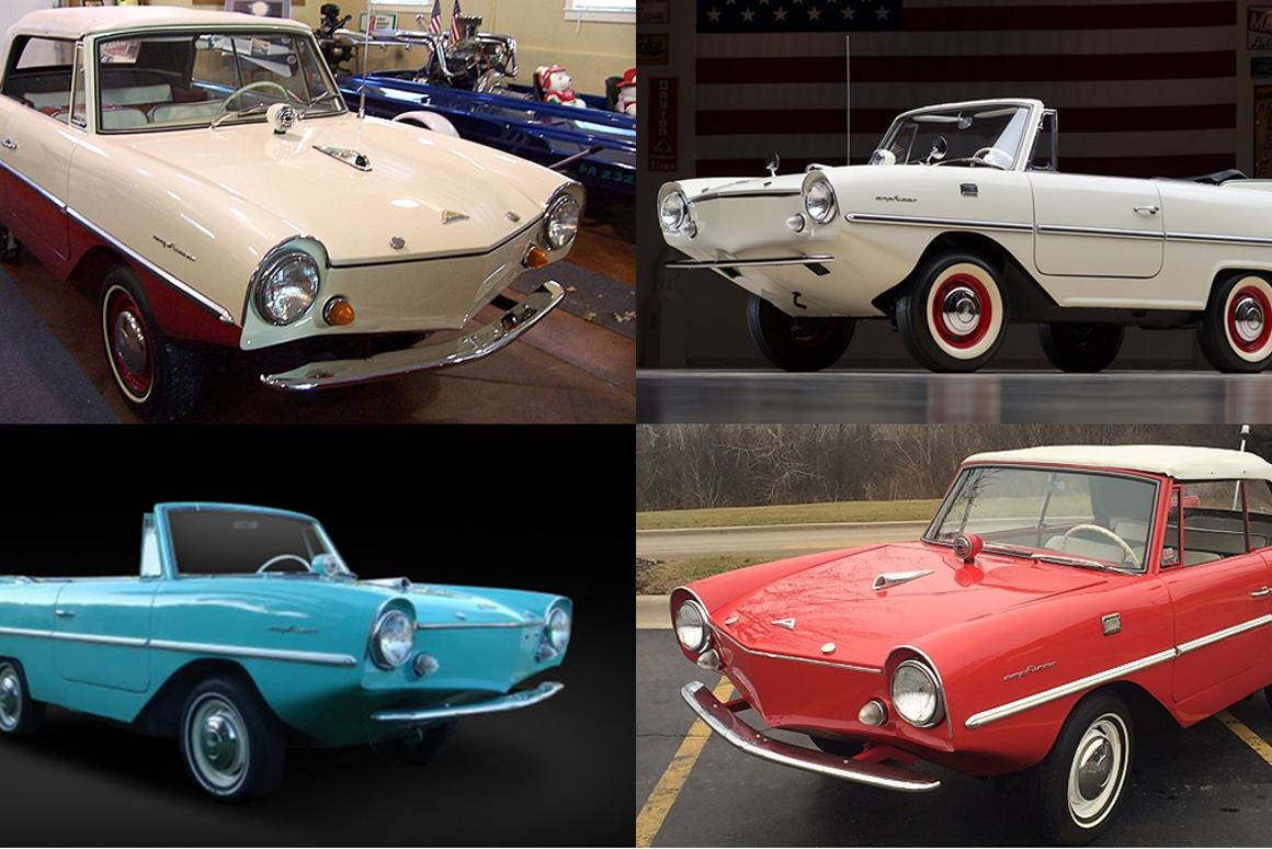 Four Amphicars (from top left clockwise - Mecum, Barrett-Jackson, Fort Lauderdale, Russo & Steele) go to auction in the first two weeks of 2015 with much discussion about what they will each fetch as one of the highly-prized German amphibious cars recently sold for $123,400. Gizmag has analyzed all 54 Amphicar sales of the last decade and made some sense of the market.