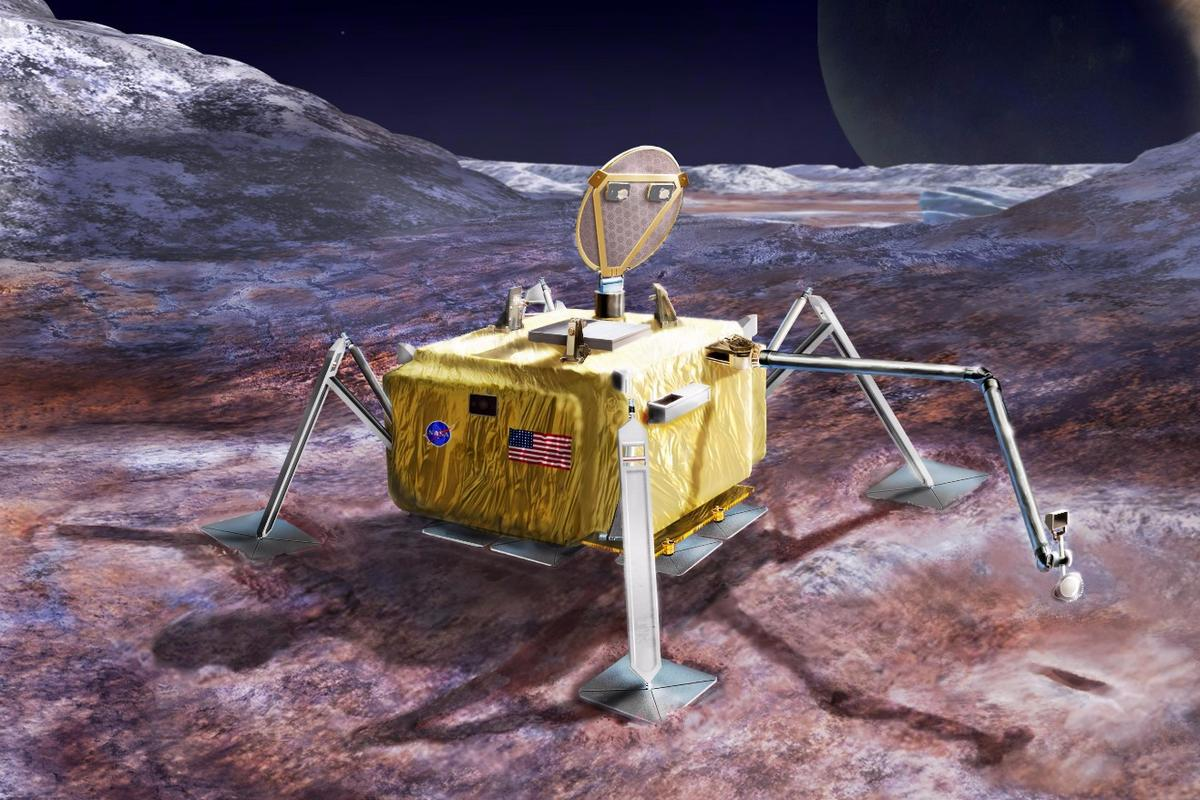 Artist's rendering of a conceptual design for a potential future mission to land a robotic probe on the surface of Jupiter's moon Europa