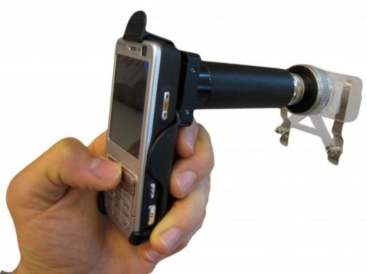 The CellScope turns a standard camera-enabled cell phone into a clinical quality microscope with a magnification of up to 50X