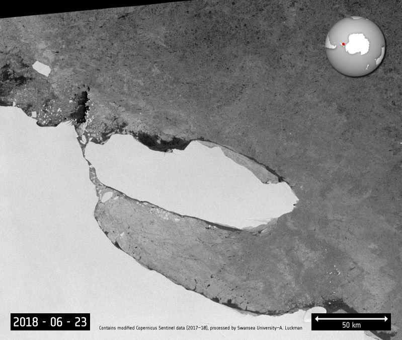 The iceberg's escape was seen by ESA's Copernicus Sentinel-1mission
