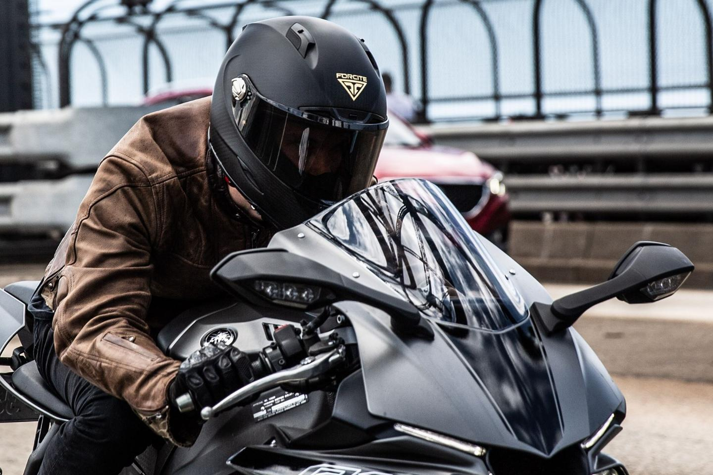 Forcite's smart motorcycle helmet packs Bluetooth, an action