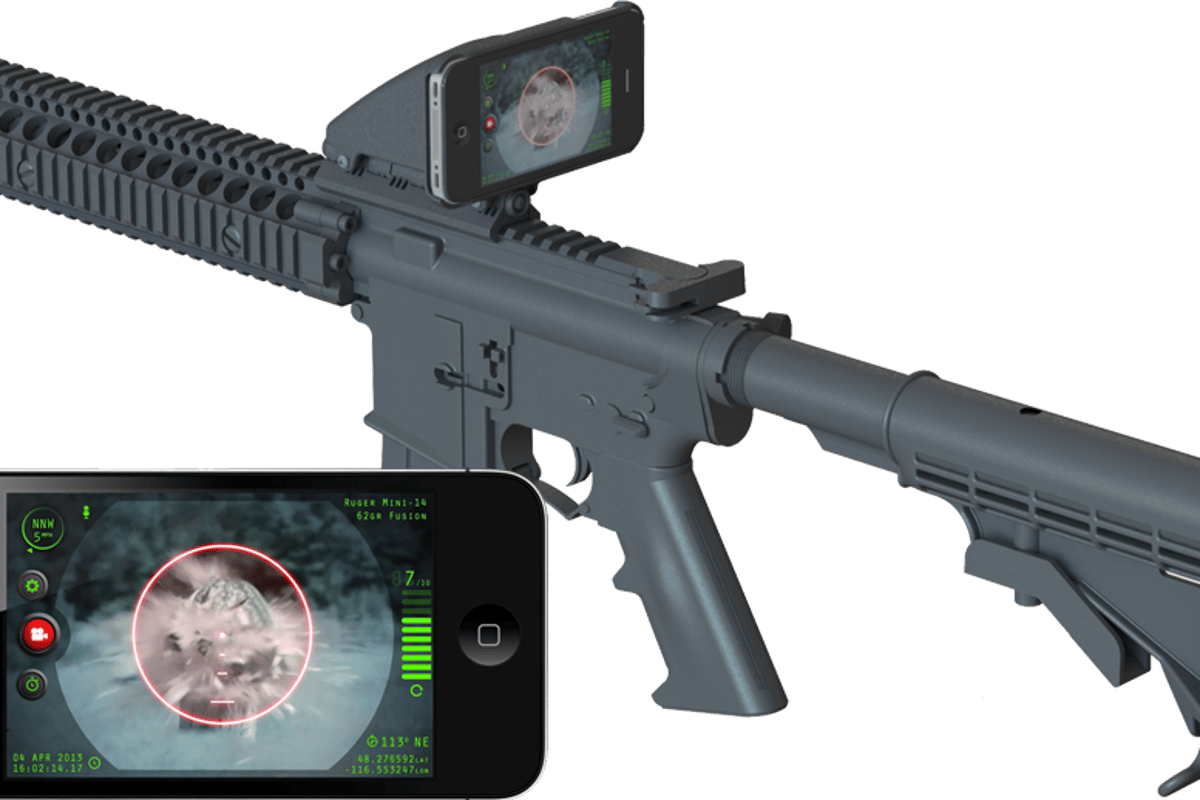 The Inteliscope Tactical Rifle Adapter and app allows gun owners to mount their iPhone or iPod Touch to a firearm and use it as a sight with a heads-up display