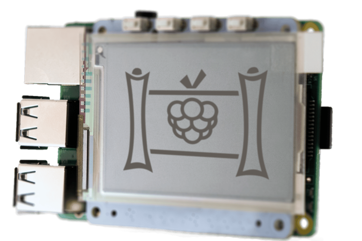 A large (2.7 inch) PaPiRus mounted on a Raspberry Pi 2