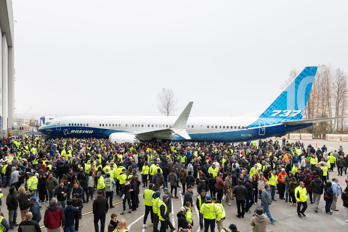 The Boeing 737 MAX 10 rolls out in Renton, Washington