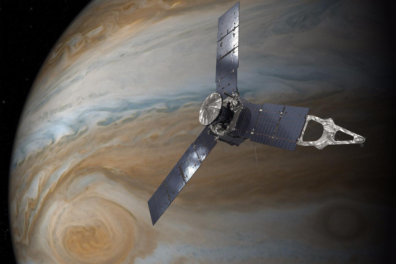 Illustration depicting NASA's Juno spacecraft in orbit above Jupiter's Great Red Spot
