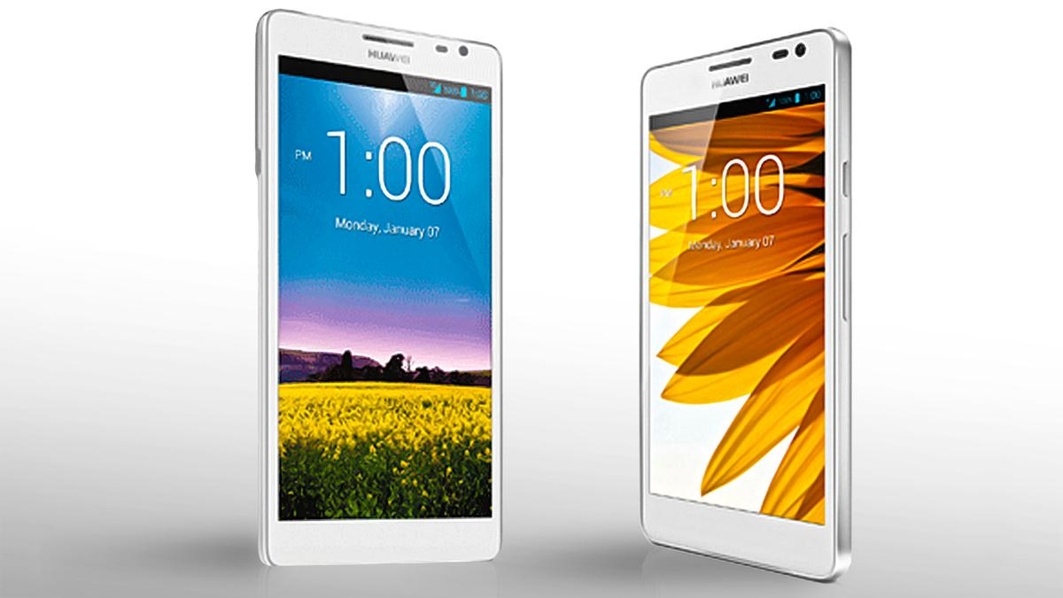 The Huawei Ascend D2 (right) only looks small next to the enormous Ascend Mate