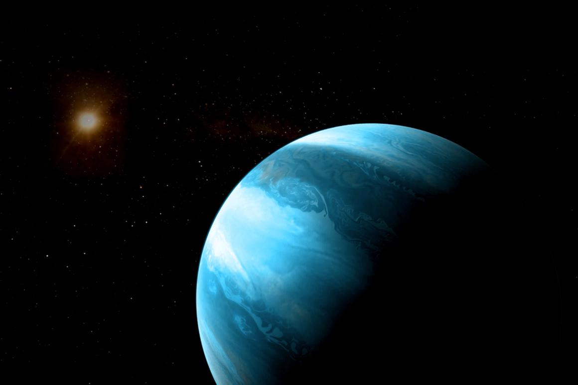 An artist's illustration of a gas giant planet like GJ 3512b orbiting a red dwarf star