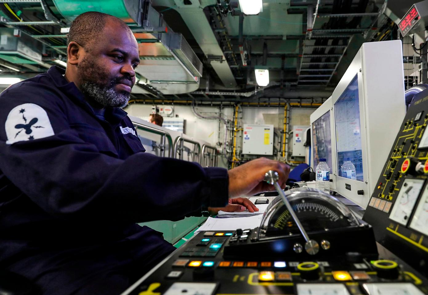One of the control panels on HMS Queen Elizabeth