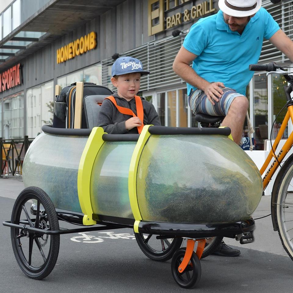 The SideBuddy can be outfitted with seats for young passengers
