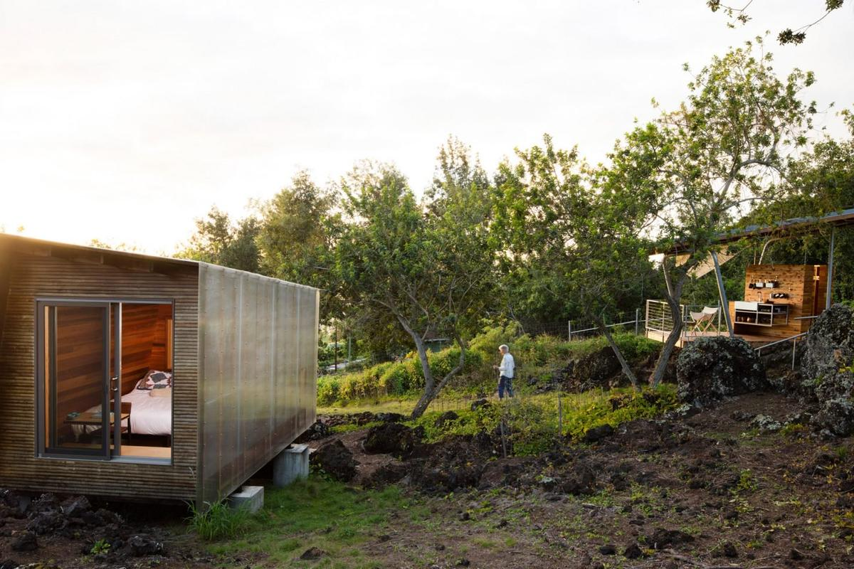 Outside House is a  pair of cabins by Associate Professor in the Department ofArchitecture and in the Environmental Studies Program at theUniversity of Oregon, Erin Moore