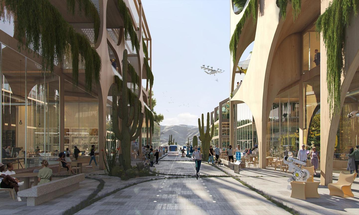 Telosa would be organized around pedestrians and cyclists, but would also feature slow-moving autonomous vehicles