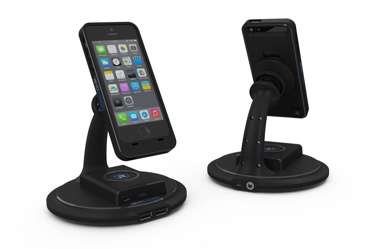 A look at the desk mount of the Revocharge system