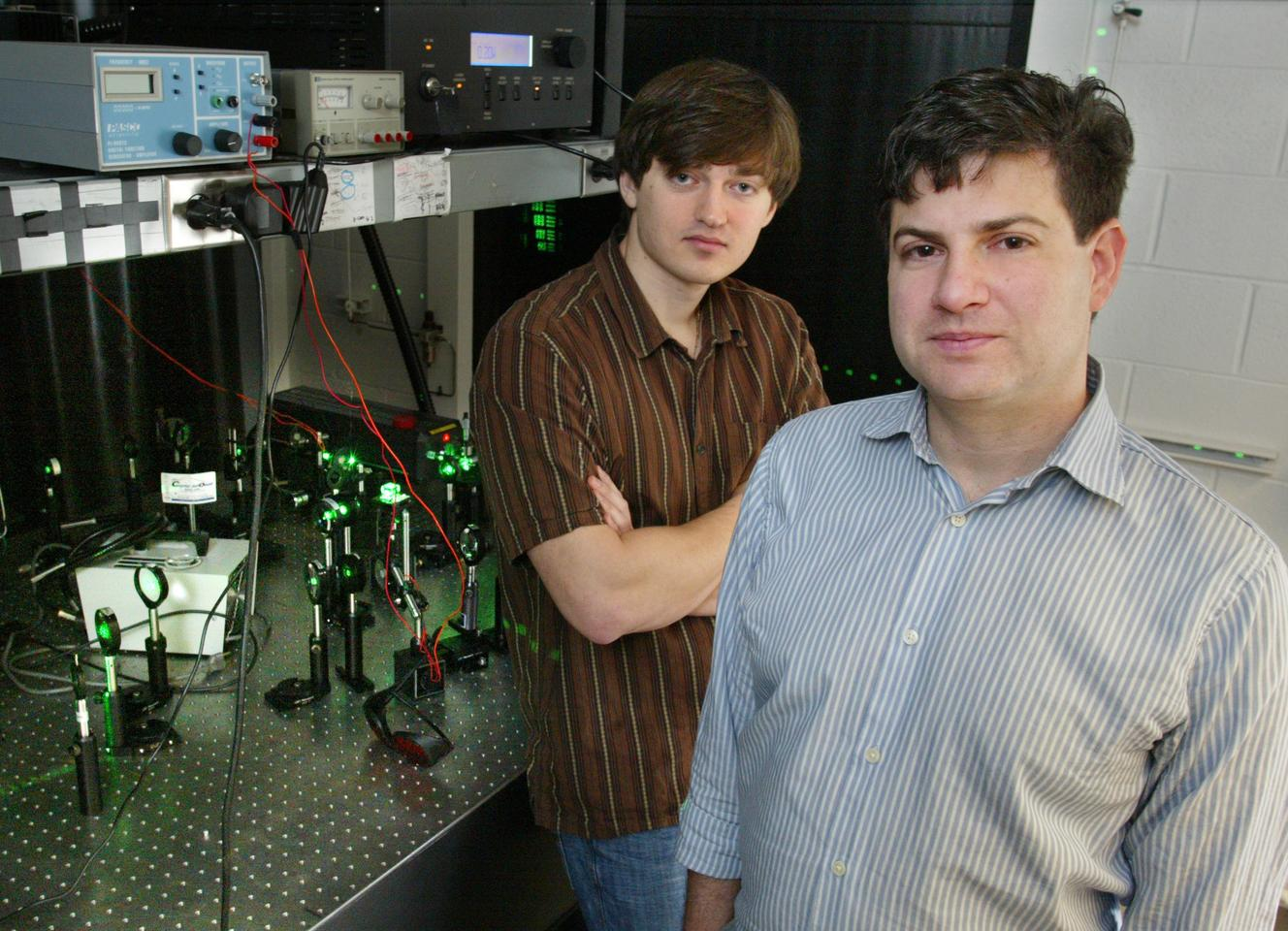 Princeton engineering researchers Jason Fleischer and Dmitry Dylov with their imaging system