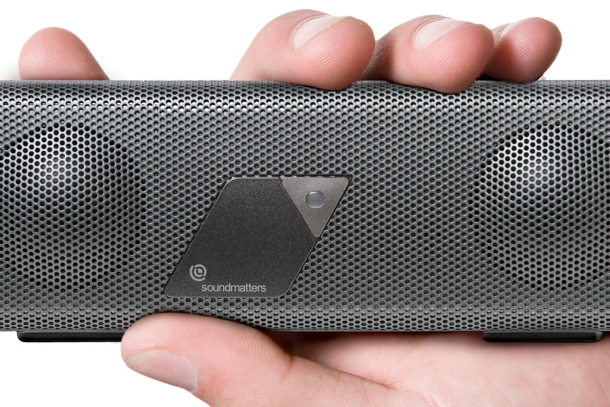 Soundmatters' foxLv2 PLATINUM speaker fits in the palm of a hand