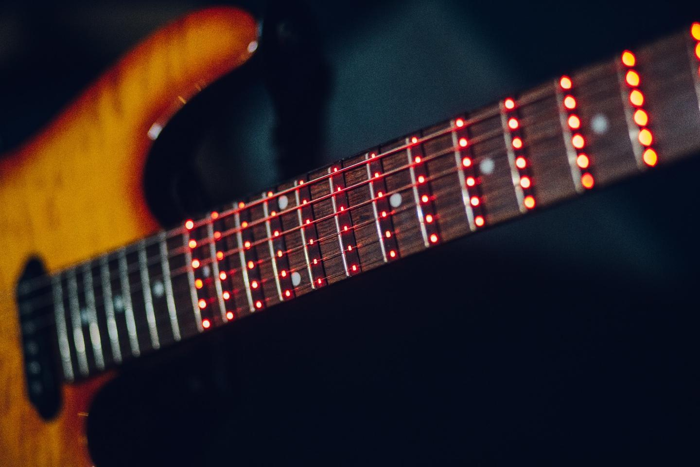 The Fret Zeppelin learning sleeve boasts 144 full spectrum LED lights