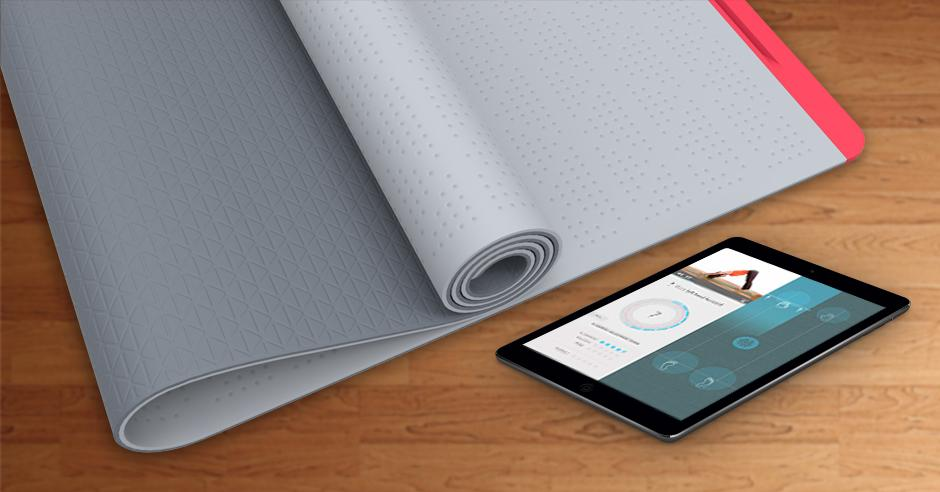 The SmartMat has integrated pressure sensors, and wirelessly communicates with an app in the user's mobile device