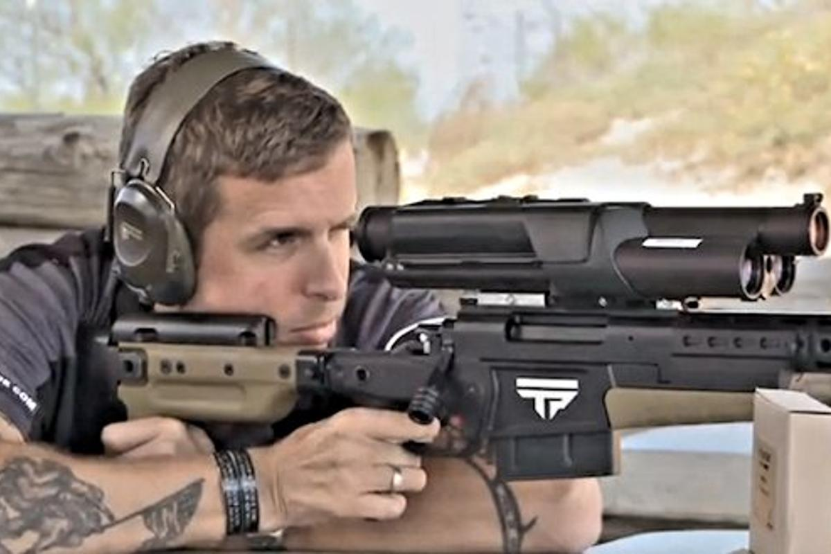 TriggerPoint's president test-firing the TriggerPoint XS1 tactical/sniper rifle