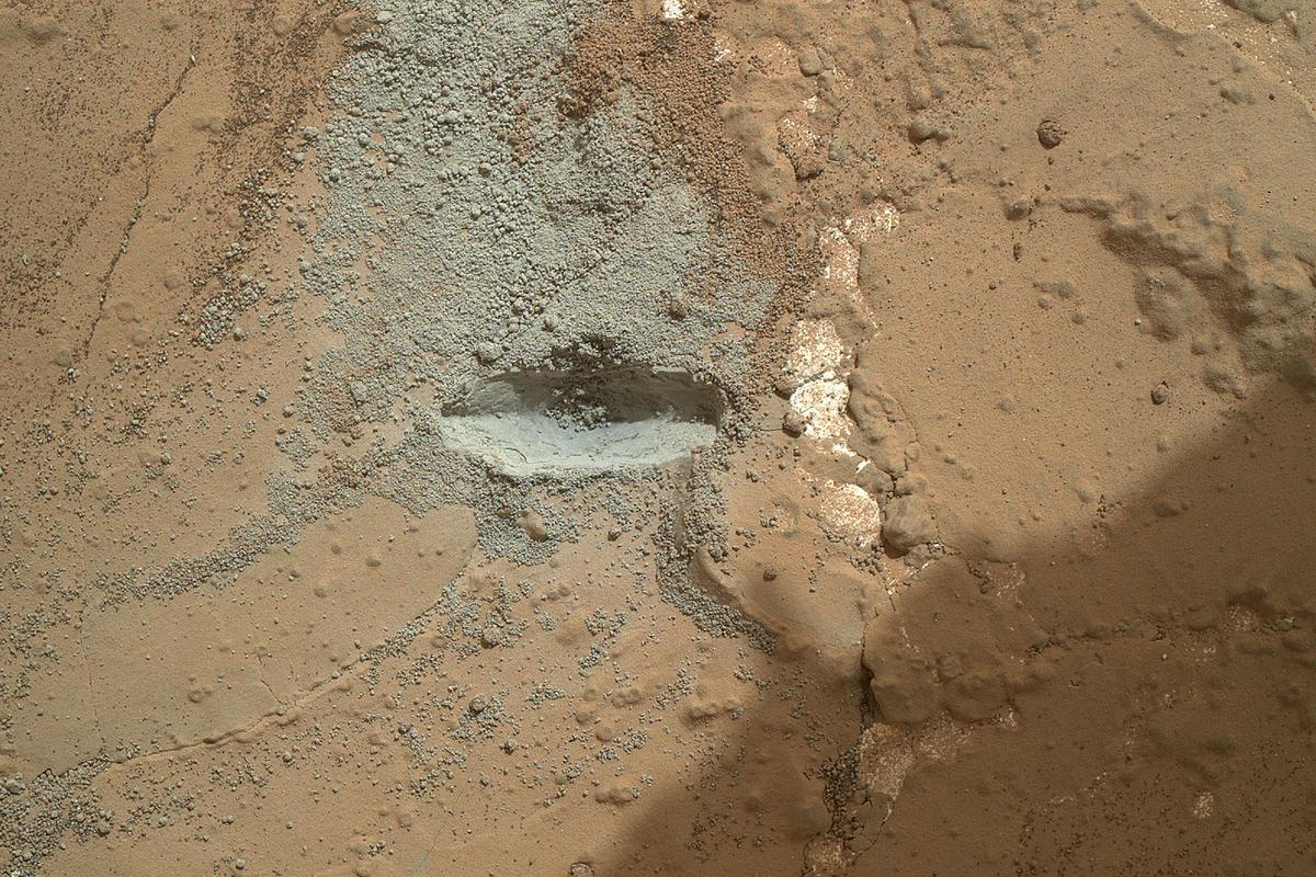 "Test drilling carried out on the rock called ""John Klein"" on February 2nd (Image: NASA/JPL-Caltech/MSSS)"