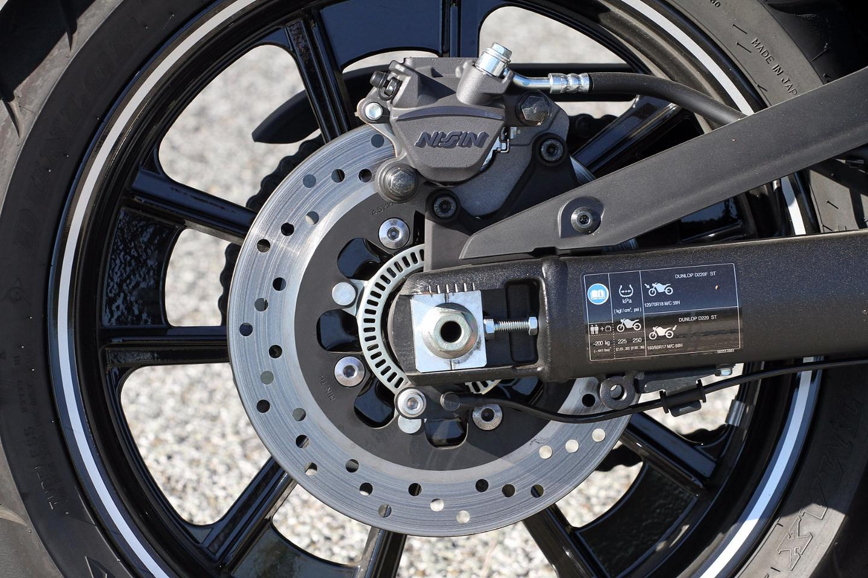 Therear brake caliper (ABSversion)of the Kawasaki Vulcan S