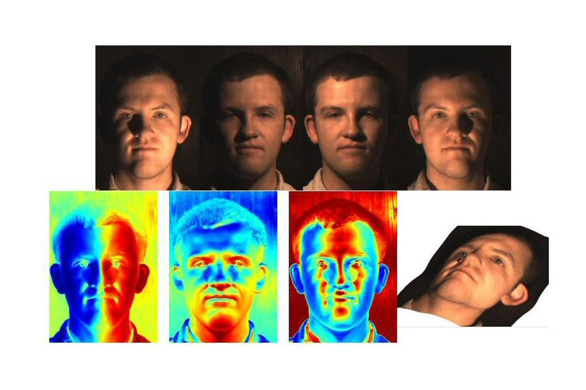 Four flash photographs of a volunteer were taken from different angles and special software analyzed all the shadows, colors, surface orientation and depth of each point on a face to produce a composite image of unparalleled detail