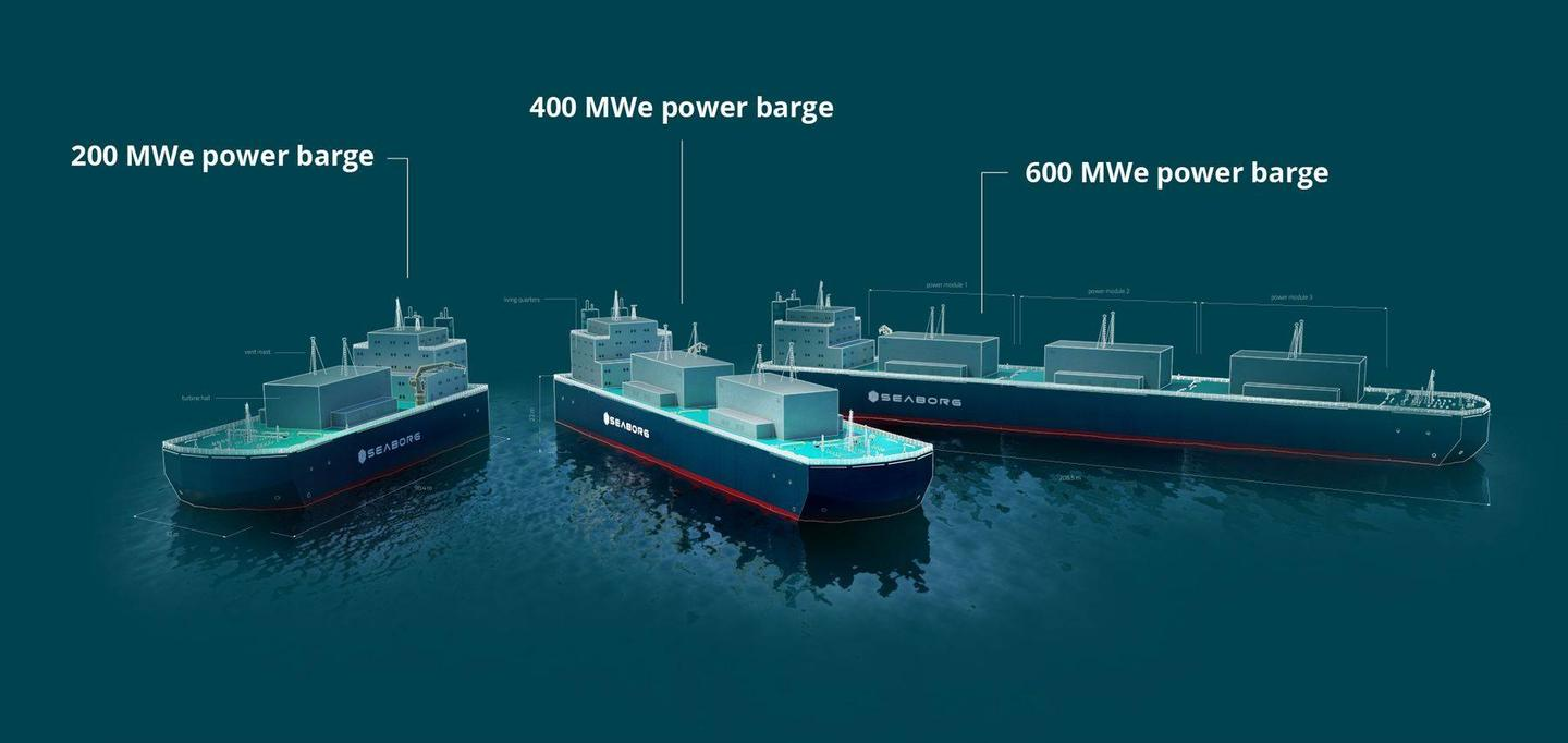Each shipping container-sized module generates up to 200 MW, and mounting them on floating barges could make these power plants incredibly quick to manufacture and deploy around the globe