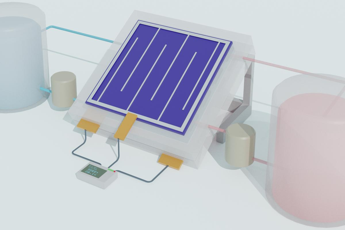 A schematic illustration of the new solar flow battery design