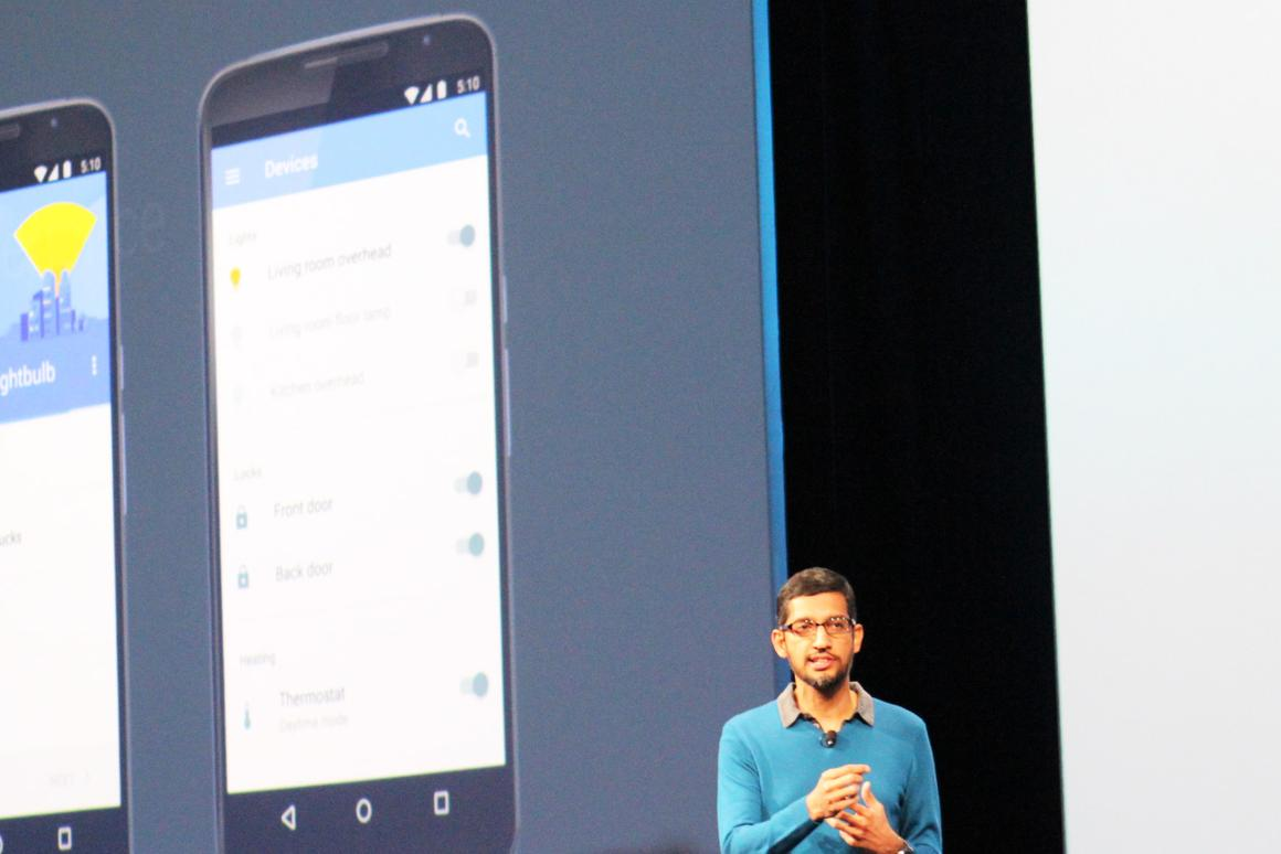 Android head Sundar Pichai introducing Android M