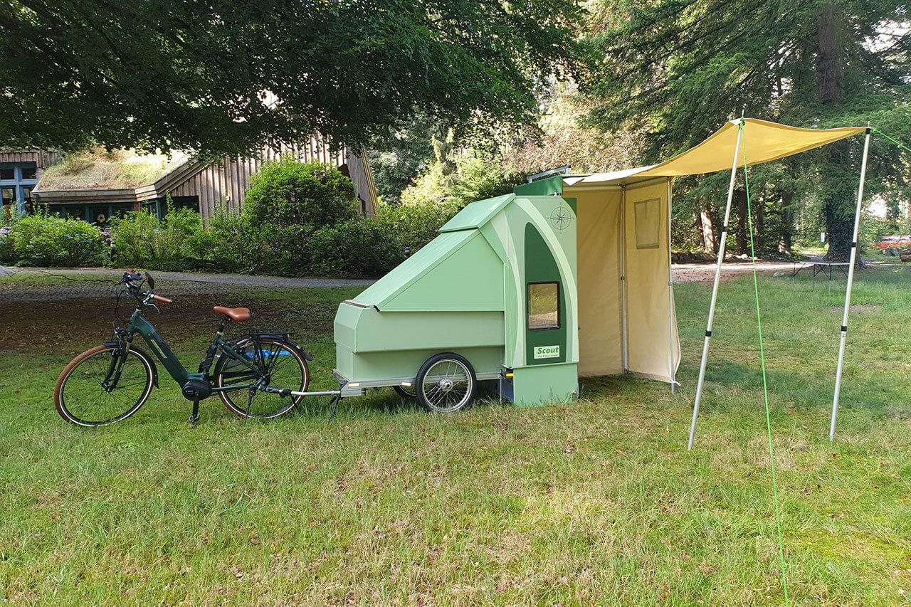 Designed for ebikes, the CreaCon Scout camper provides a towable solution for camping solos and duos