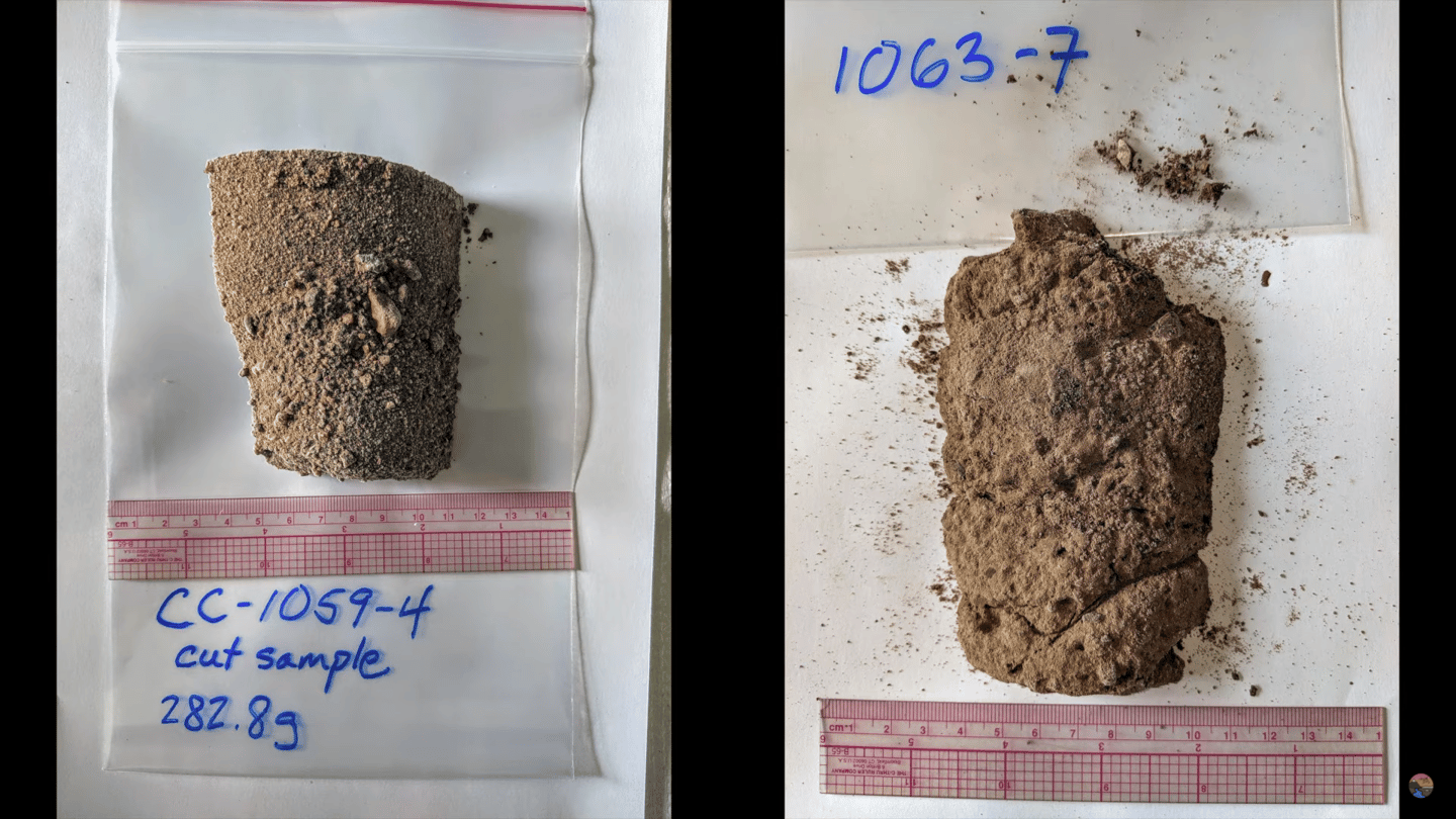 Two samples of the soil, as taken from the bottom of the large ice core