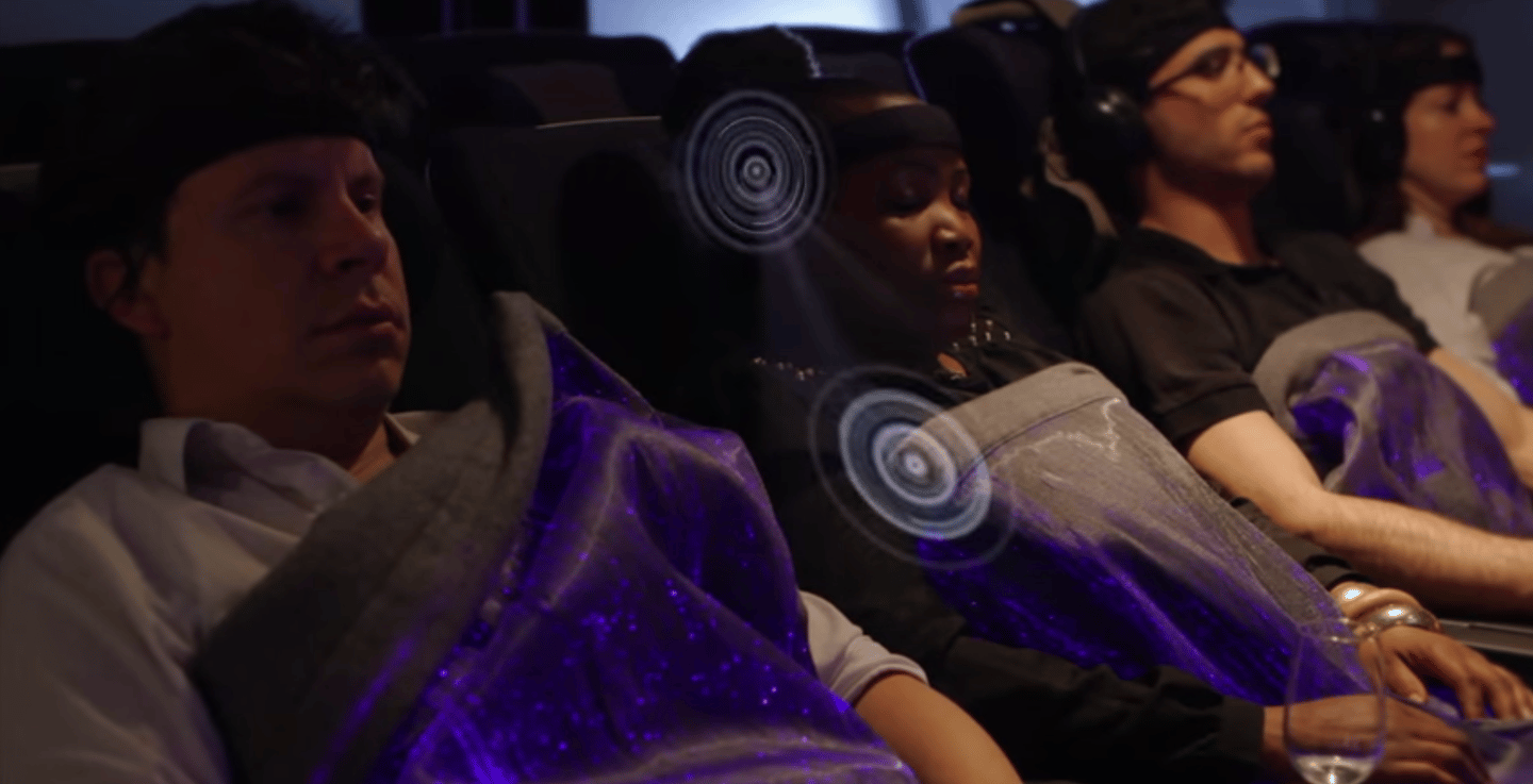 The happiness blanket monitors brain activity and displays it on the fiber optic blanket