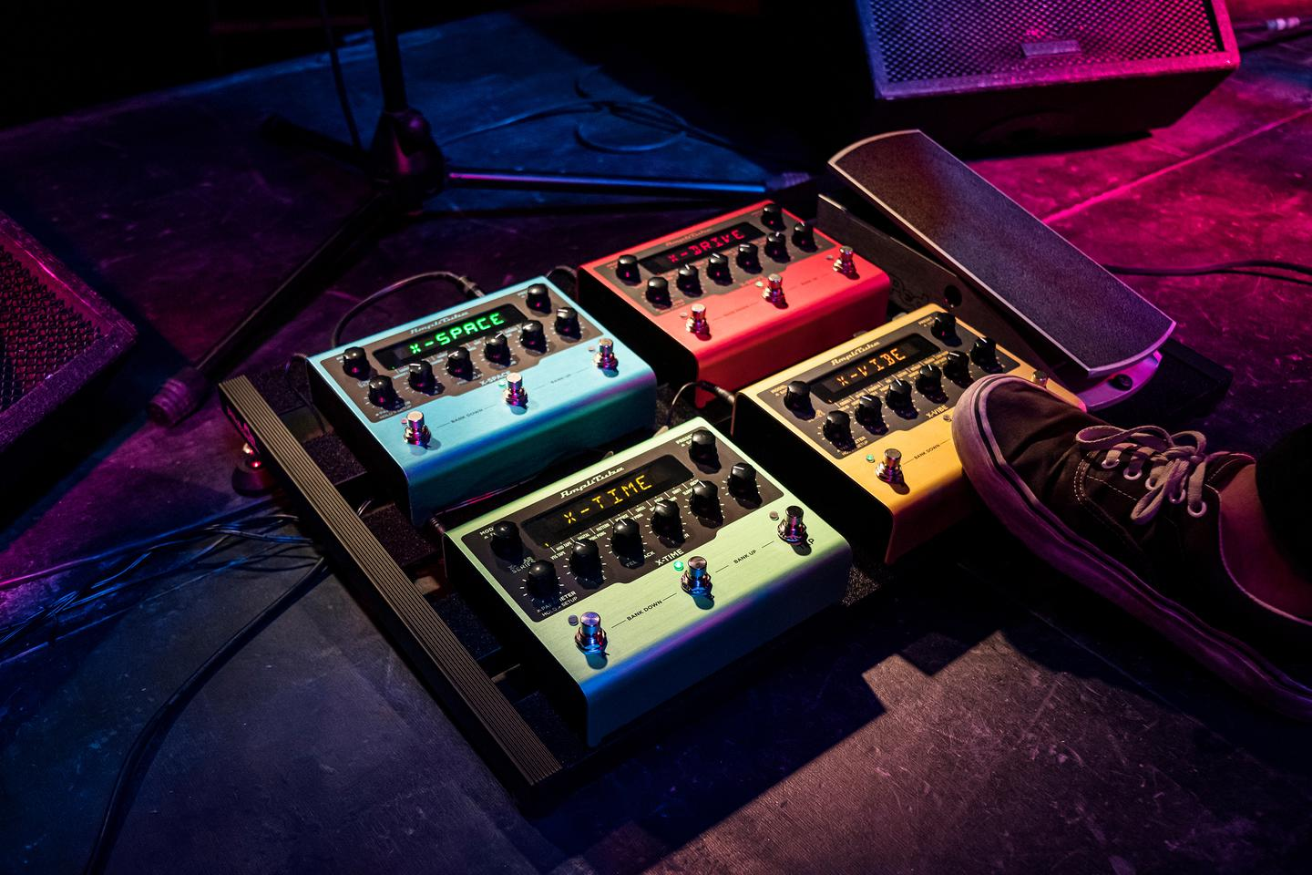 The X-Gear range comprises the X-Space reverb, X-Time delay, X-Drive distortion and X-Tiem modulation pedals