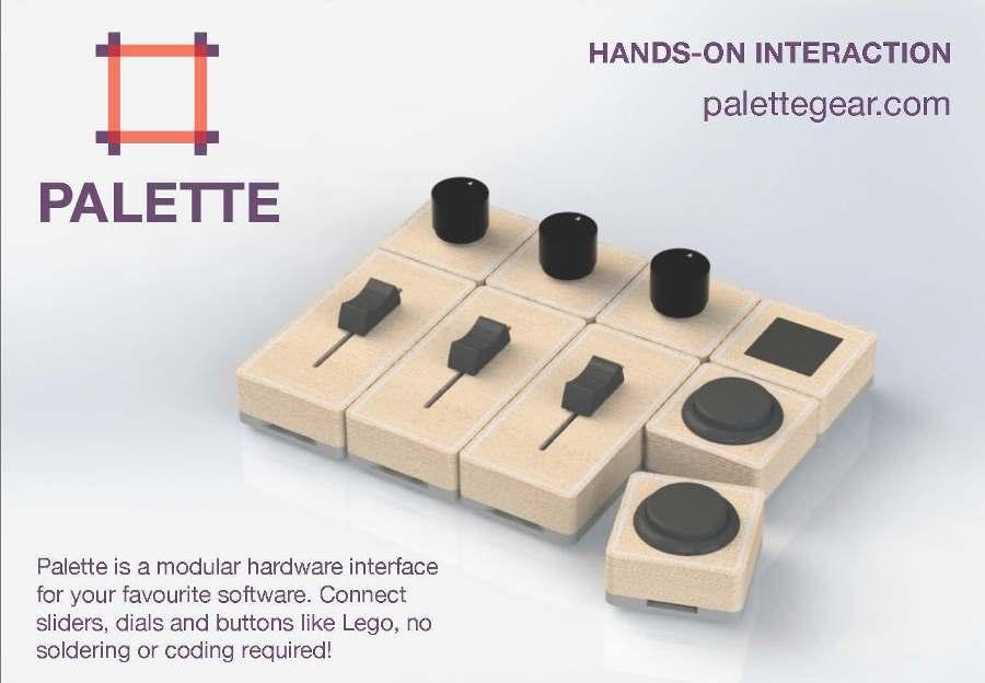 Described by its creators as the first freeform software controller, Palette is a range of buttons, dials and sliders made so that creative types can design their own hardware interfaces for their software of choice