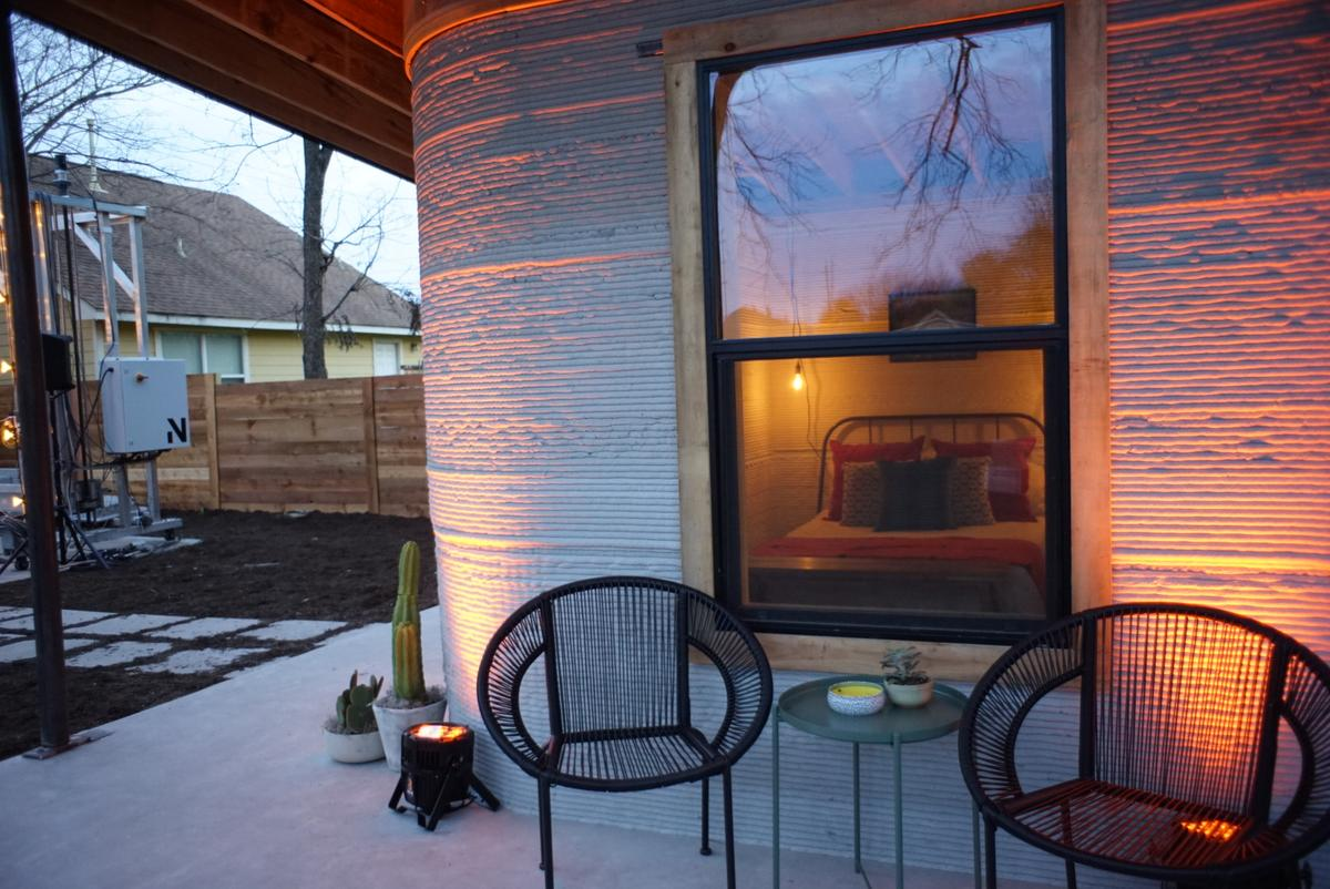 The 3D-printed home shown is a proof-of-concept model recently unveiled at SXSW in Austin, Texas