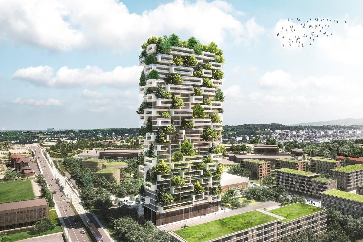 "Stefano Boeri Architetti's Cedar Trees Tower is heavily inspired by Bosco Verticale and brings the same ""Vertical Forest"" concept of greenery-covered buildings to Switzerland"
