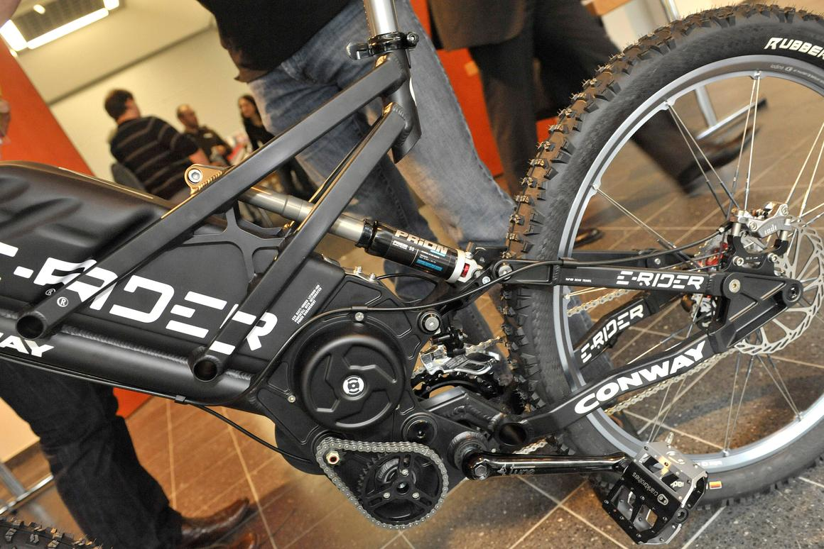 The Conway E-Rider electric mountain bike on display at Eurobike