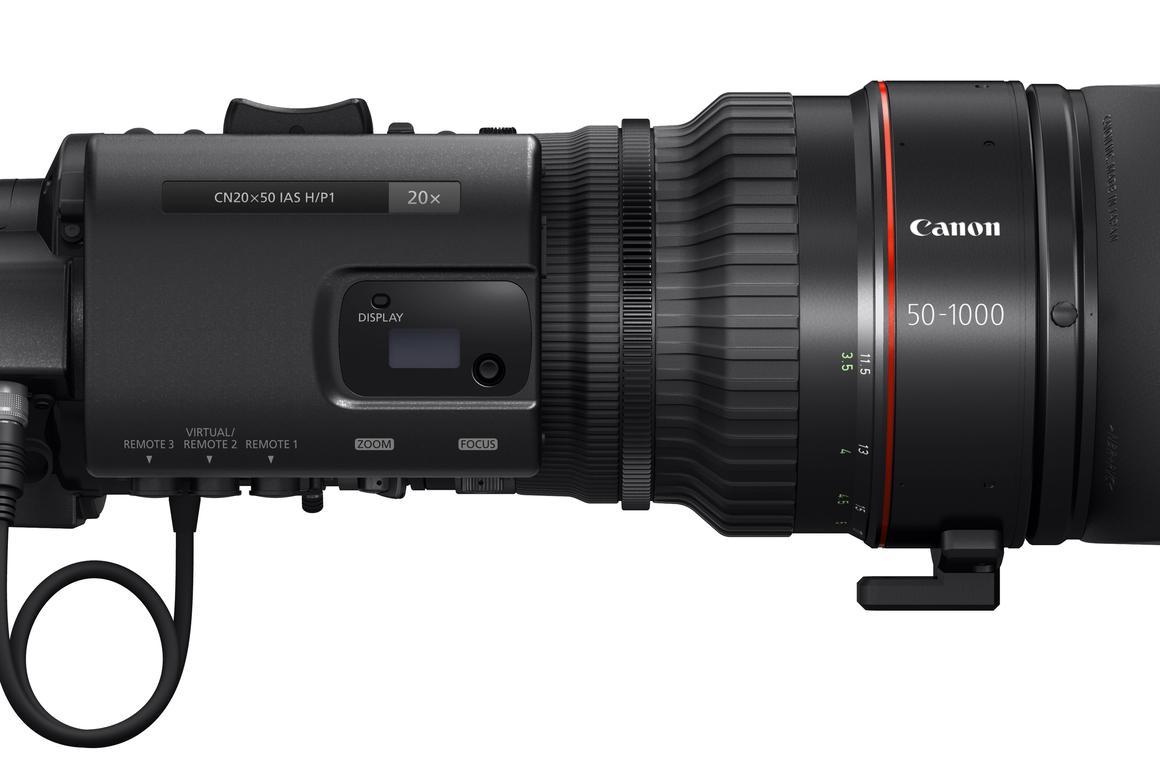 The Canon CN20x50 cine-servo lens is an ultra-telephoto zoom