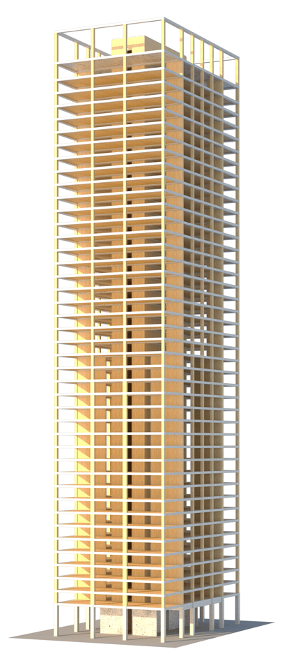 Are we likely to start seeing wooden skyscrapers on our skylines soon? (Image: SOM)