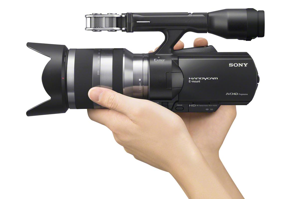 The NEX-VG20 interchangeable lens camcorder from Sony