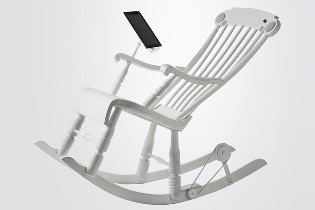 Rocking out in the iRock Rocking Chair recharges a connected iDevice and powers the chair's inbuilt speakers