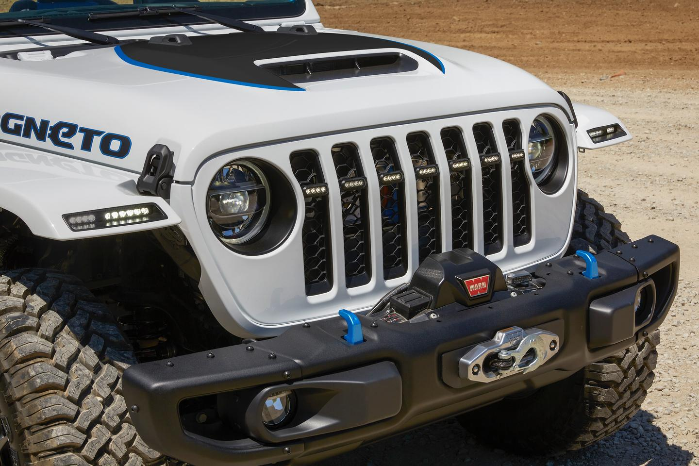 With its Rubicon base package, manual transmission, 2-in lift, 35-in mud-terrain tires and steel bumpers with front winch, the Wrangler Magneto proves that off-roaders don't have to give up filthy fun to go electric