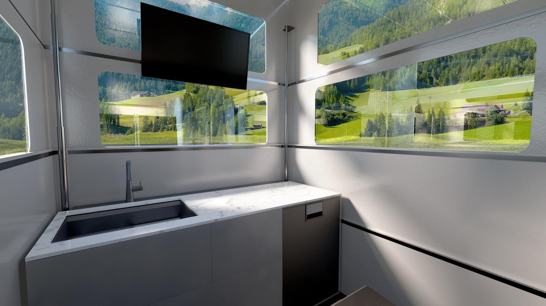확장 된 디자인으로 CyberLndr은 캠핑 객에게 주방, 욕실, 컨버터블 라운지 / 침실 및 위성 연결을 제공합니다.